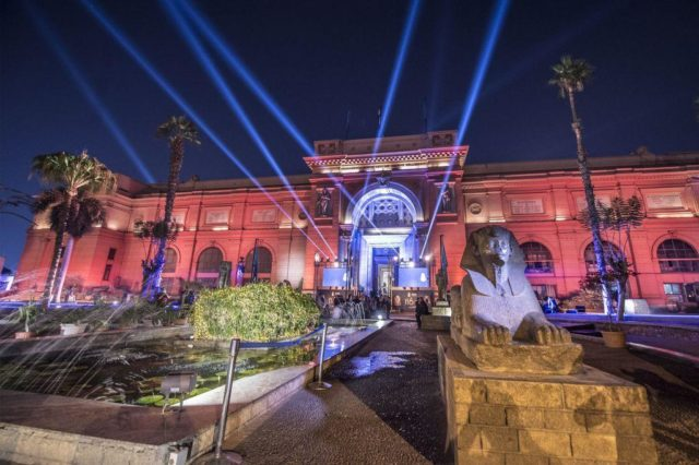 A picture taken on November 19, 2018, shows the Egyptian Museum in Cairo during a ceremony celebrating the 116th anniversary of the museum. (Photo by KHALED DESOUKI/AFP/Getty Images)