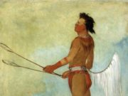 A Choctaw stick-ball player, depicted by George Catlin in 1834. (Public Domain)