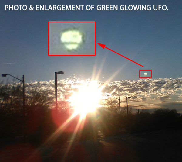 PHOTO & ENLARGEMENT OF GLOWING GREEN UFO.